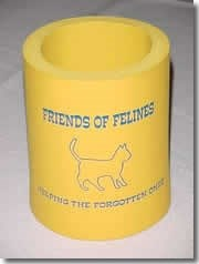 Picture of the can hugger. It is yellow with blue text. It reads, Friends of Felines - Helping the Forgotten Ones and has an outline of a cat.